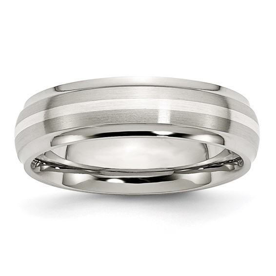 Stainless Steel Sterling Silver Inlay 6mm Brushed and Polished Band