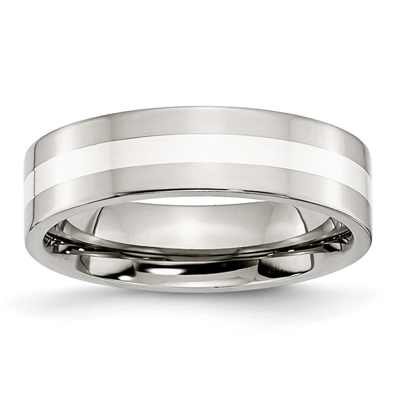 Stainless Steel Sterling Silver Inlay 6mm Polished Band