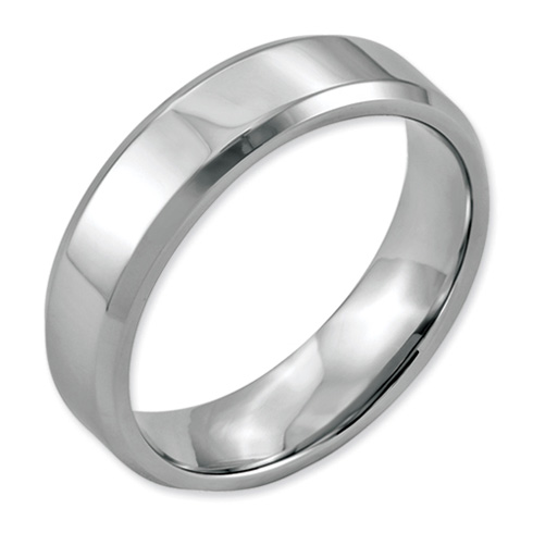 Stainless Steel 6mm Domed Ring with Beveled Edges