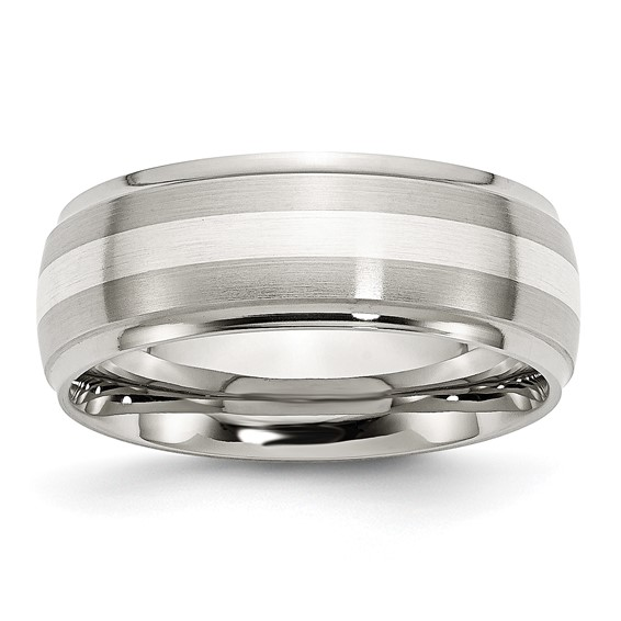 Stainless Steel Sterling Silver Inlay 8mm Brushed and Polished Band