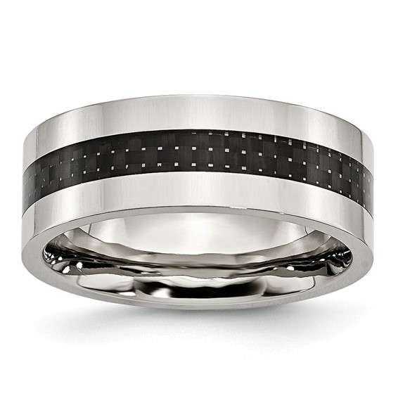 Stainless Steel Carbon Fiber Flat 8mm Polished Band