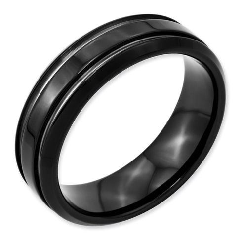 Stainless Steel Black Plated Grooved 7mm Band