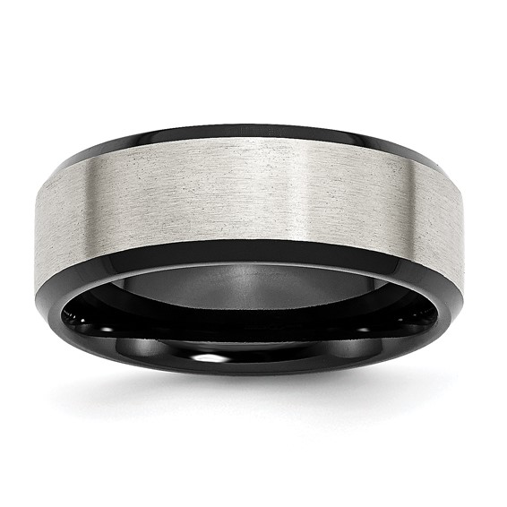 Stainless Steel Black Plated 8mm Brushed Band