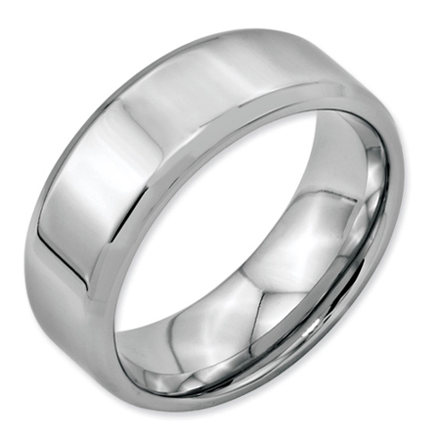Stainless Steel Beveled Edge 8mm Polished Band