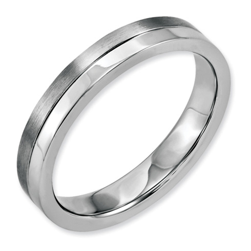 Stainless Steel 4mm Brushed and Polished Band
