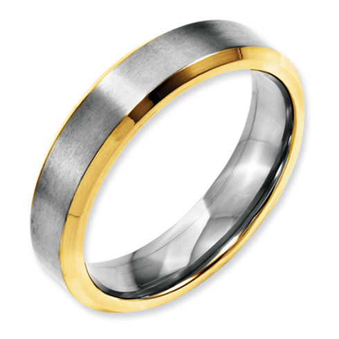 Stainless Steel 5mm Brushed & Polished Gold-plated Band