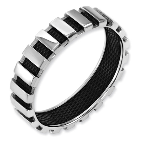 Stainless Steel Polished & Black Wire 6mm Band