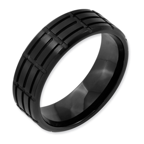 Stainless Steel 8mm Black-plated Grooved Brushed Band