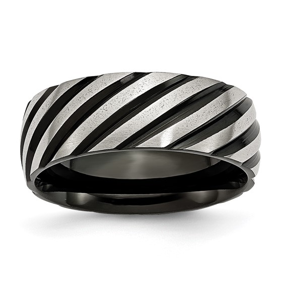 Stainless Steel 8mm Black Plated Swirl Brushed & Polished Band