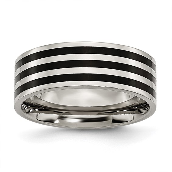 Stainless Steel 8mm Black-plated Stripes Wedding Band