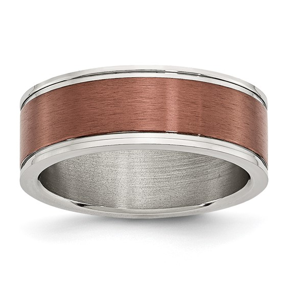 Stainless Steel 8mm Chocolate Plated Brushed & Polished Band