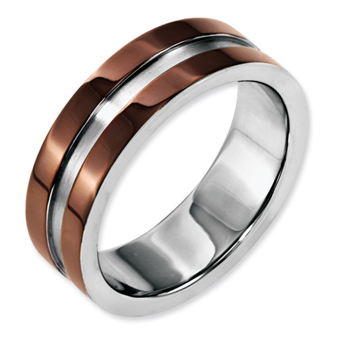 Stainless Steel 8mm Chocolate Plated Grooved Polished Band
