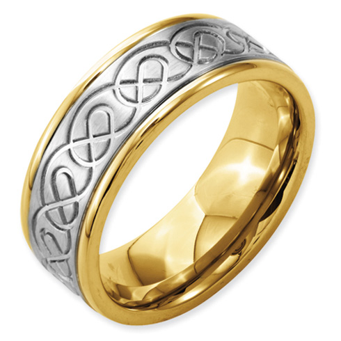 Stainless Steel 8mm Design & Gold-plated Brushed & Polished Ring