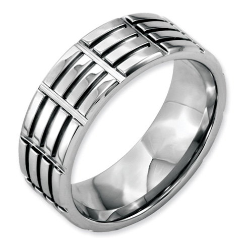 Stainless Steel 8mm Grooved Polished Band