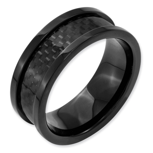 Stainless Steel 9mm Black-plated w/Carbon Fiber Inlay Band