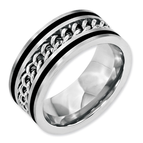 Stainless Steel 10mm Chain & Black-plated Brushed & Polished Band