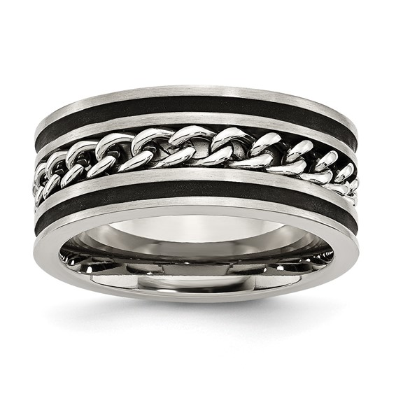 Stainless Steel 10mm Ring with Chain Link and Black Stripes