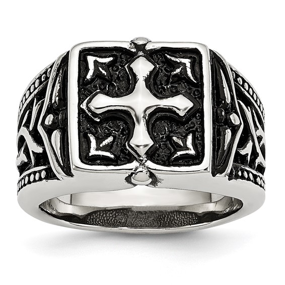 Stainless Steel Antiqued Ornate Cross Ring