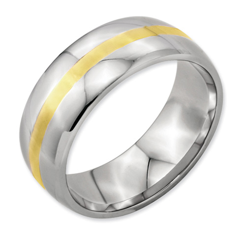 Stainless Steel 8mm Ring with 14kt Yellow Gold Inlay