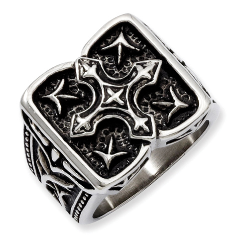 Stainless Steel Antiqued Wide Cross Ring
