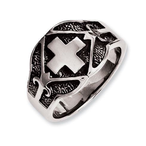 Stainless Steel Men's Antiqued Square Cross Ring