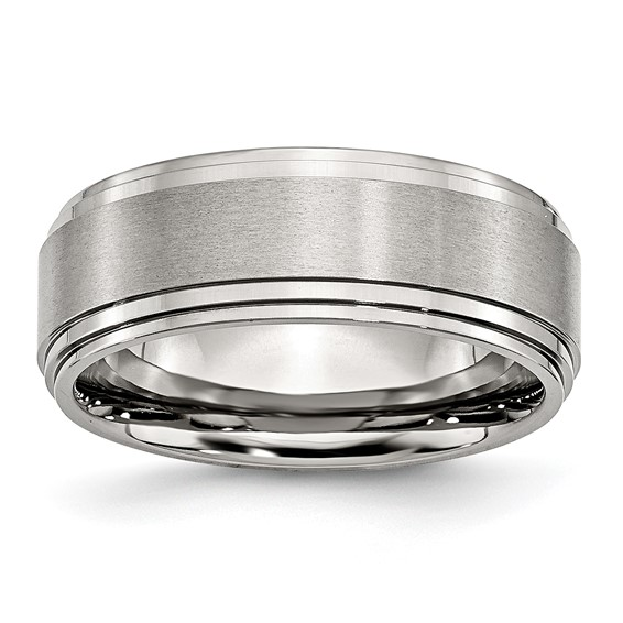 8mm Stainless Steel Ring with Polished Ridged Edges