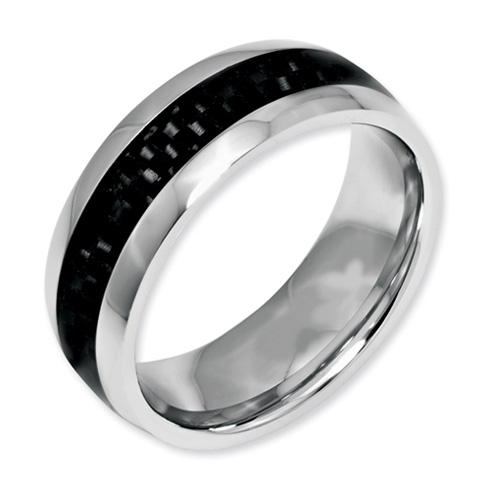 8mm Stainless Steel Ring with Carbon Fiber
