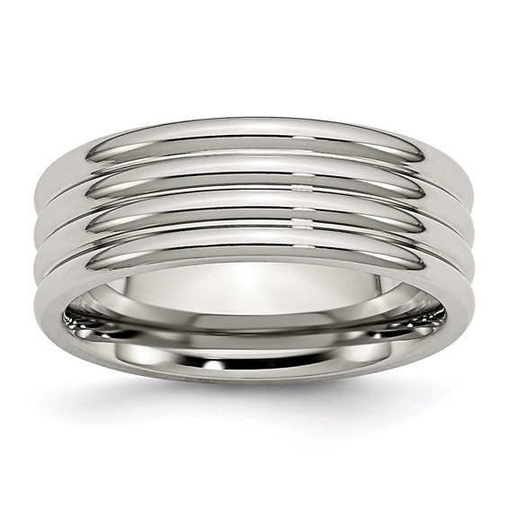 8mm Stainless Steel Ring Triple Groove