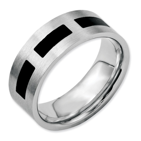 8mm Stainless Steel Ring with Black Accents