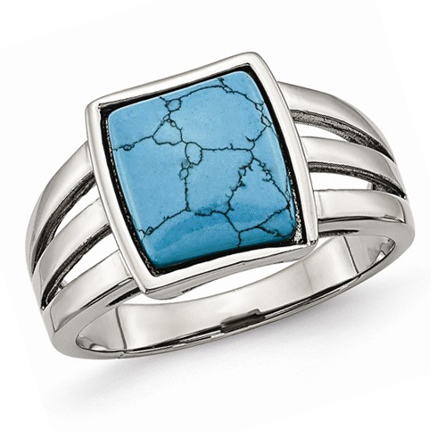 Stainless Steel Imitation Turquoise Ring