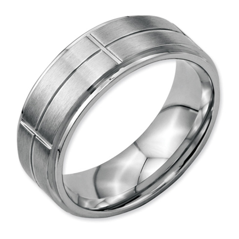 8mm Stainless Steel Ring with Panels