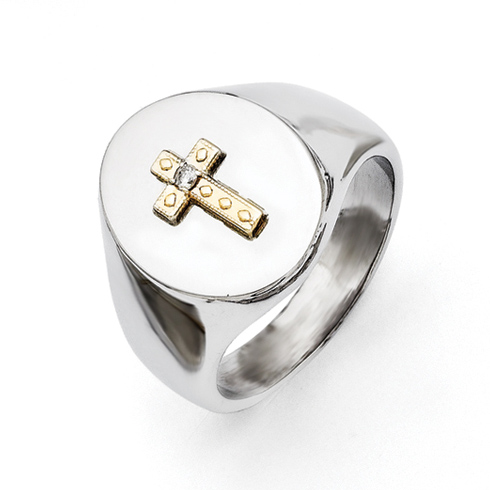 Stainless Steel Gold-plated Diamond Cross Ring