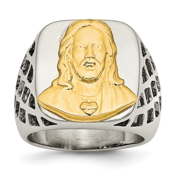 Stainless Steel Yellow Plated Jesus Ring