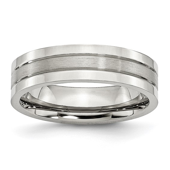 Stainless Steel 6mm Ring with Brushed Groove