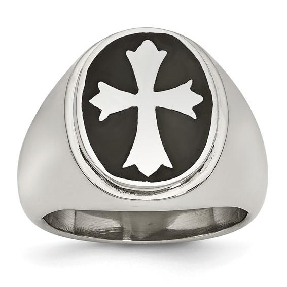 Stainless Steel Enameled Cross Ring