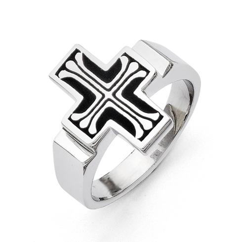 Stainless Steel Black Enamel Cross Ring