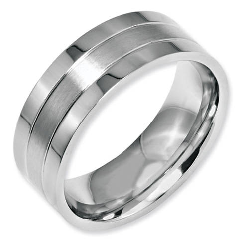 Stainless Steel 8mm Ring with Brushed Groove