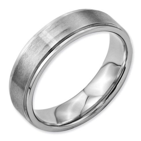 6mm Stainless Steel Ring with Ridged Edges