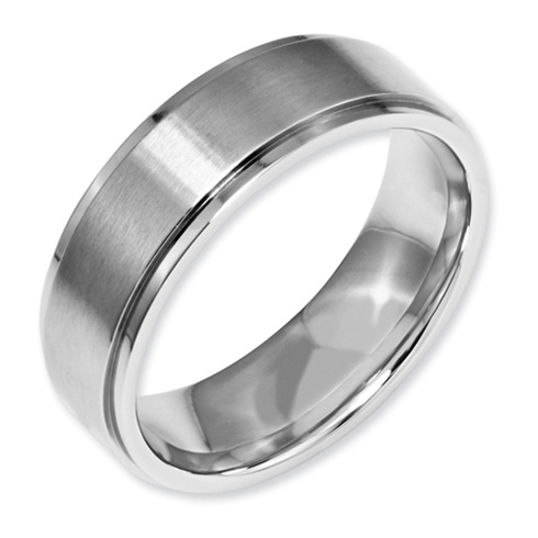 7mm Stainless Steel Ring with Ridged Edges