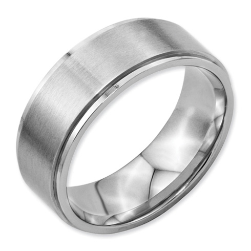 8mm Stainless Steel Ring with Ridged Edges