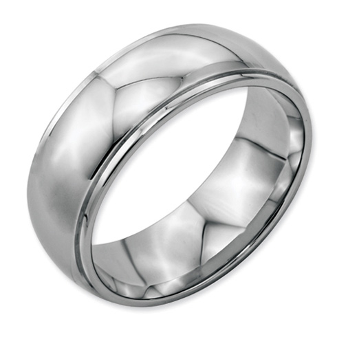 Stainless Steel Ring with Ridged Edges 8mm