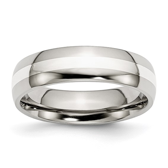 6mm Stainless Steel Ring with Sterling Silver Inlay