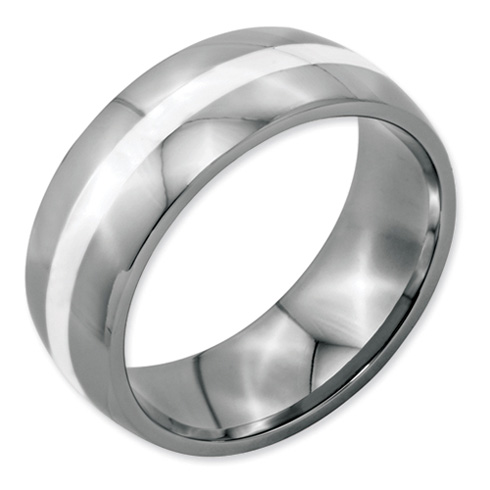 8mm Stainless Steel Ring with Sterling Silver Inlay