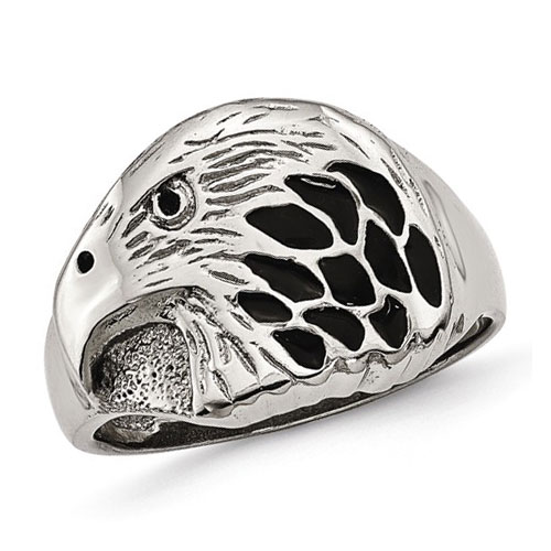 Stainless Steel Eagle Ring with Black Enamel