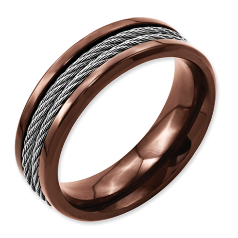 Stainless Steel Cable & Chocolate IP Plated 7mm Band
