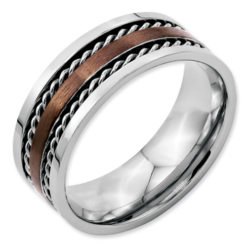 Stainless Steel Chocolate IP Plated 8mm Band