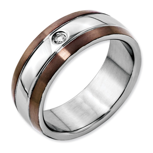 Stainless Steel Chocolate IP Plated Ring with Diamond Accent