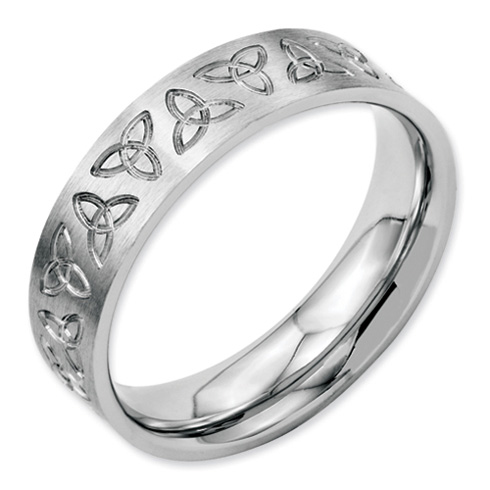 Stainless Steel Engraved Trinity Symbol Brushed 6mm Band