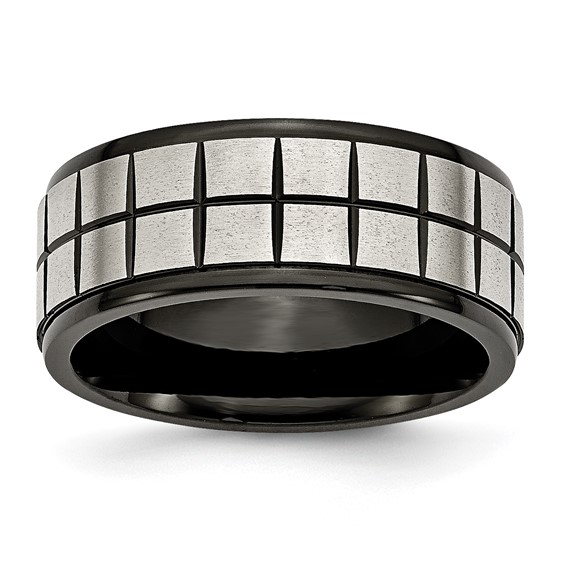 Stainless Steel Brushed & Black-plated 9mm Band