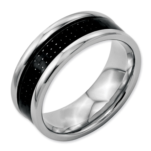 Stainless Steel Carbon Fiber 8mm Band
